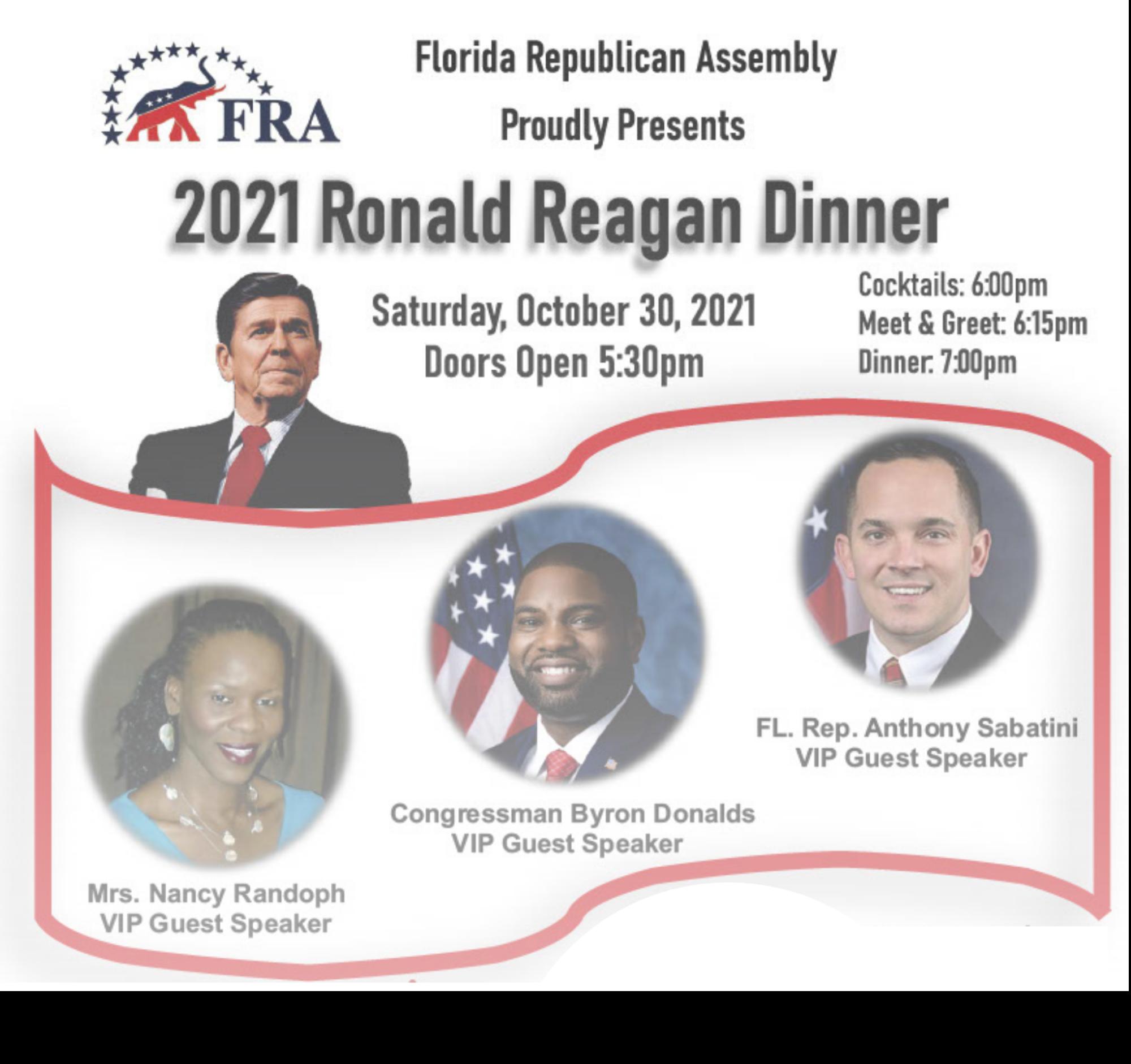 Saturday, October 30th 2021 - Ronald Reagan Dinner